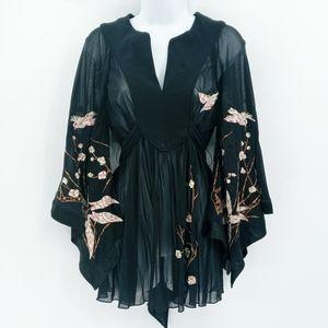 Express Embroidered Black Kimono Sleeve Top
